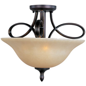 Infinity Oil Rubbed Bronze Three-Light Semi-Flush with Wilshire Glass