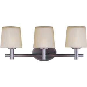 Finesse Oil Rubbed Bronze Three-Light Bath Light with Dusty White Glass