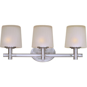Finesse Satin Nickel Three-Light Bath Light with Frosted Glass