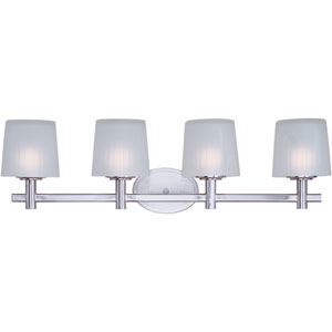 Finesse Satin Nickel Four-Light Bath Light with Frosted Glass