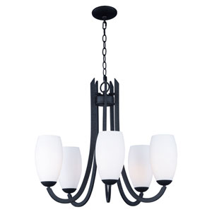 Taylor Textured Black Five-Light Chandelier
