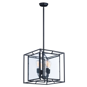 Era Black 16-Inch Four-Light Pendant with Bulb