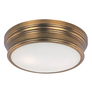 Fairmont Natural Aged Brass Two-Light Flush Mount