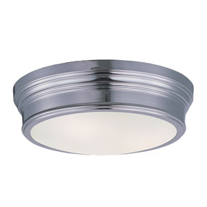 Fairmont Polished Nickel Two Light Flush Mount with Satin White Glass Shade