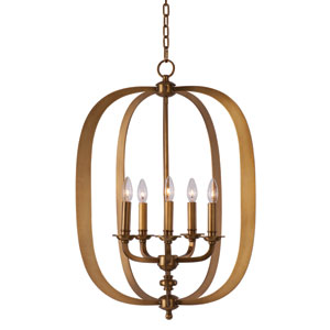 Fairmont Natural Aged Brass Five Light Single Pendant