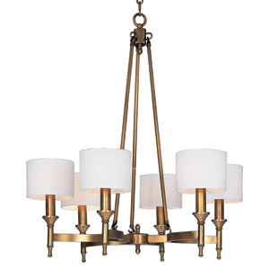 Fairmont Natural Aged Brass 30-Inch Wide Six-Light Single-Tier Chandelier