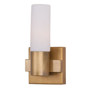 Contessa Natural Aged Brass One Light Wall Sconce with Satin White Glass Shade