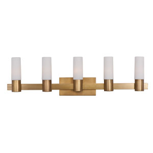 Contessa Natural Aged Brass Five Light Bath Vanity with Satin White Glass Shade