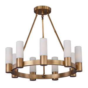 Contessa Natural Aged Brass Nine Light Single-Tier Chandelier with Satin White Glass Shade