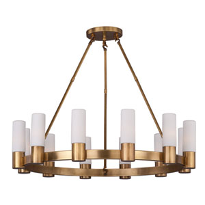 Contessa Natural Aged Brass 12-Light Single-Tier Chandelier with Satin White Glass Shade