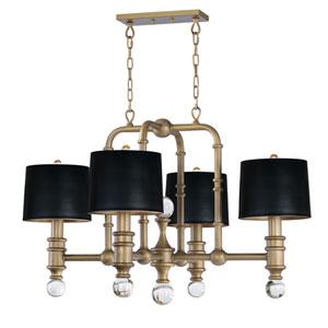 Saloon Weathered Brass Four-Light Chandelier