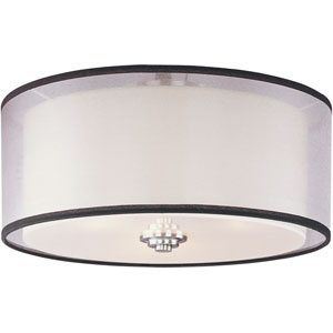 Orion Satin Nickel Three-Light Flush Mount with Satin White Glass