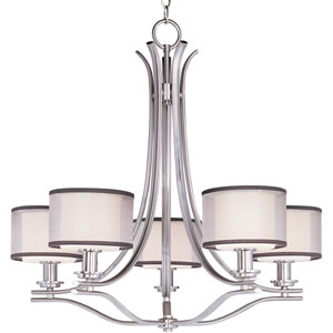 Orion Satin Nickel Five-Light Chandelier with Satin White Glass