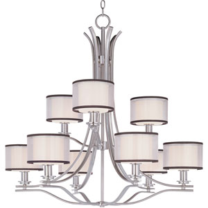 Orion Satin Nickel Nine-Light Multi-Tier Chandelier with Satin White Glass