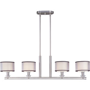 Orion Satin Nickel Four-Light Island Pendant with Satin White Glass