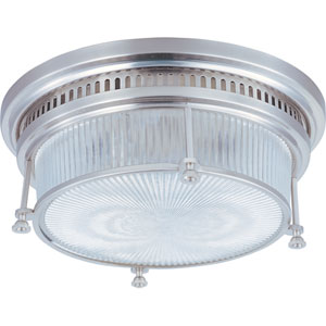 Hi-Bay Satin Nickel Two-Light Flush Mount