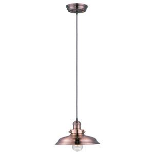 Mini Hi-Bay Antique Copper One-Light Six-Inch Pendant with Bulb