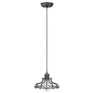 Mini Hi-Bay Bronze One-Light Seven-Inch Mini Pendant with Bulb