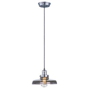 Mini Hi-Bay Satin Nickel One-Light Mini Pendant with Mirror Smoke Glass and Bulb