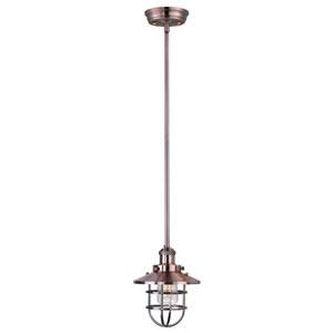 Mini Hi-Bay Antique Copper One-Light Mini Pendant with Bulbs