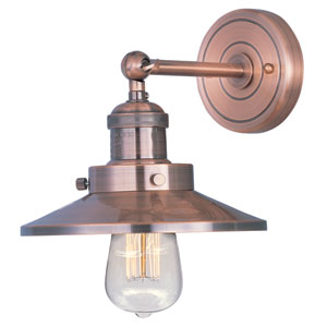 Mini Hi-Bay Antique Copper One-Light Seven-Inch Wall Sconce with Bulbs