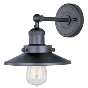 Mini Hi-Bay Bronze One-Light Seven-Inch Wall Sconce with Straight Arm and Bulbs