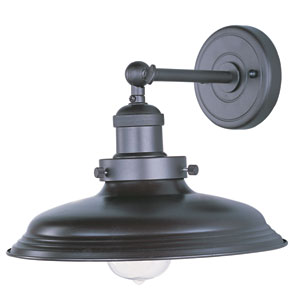Mini Hi-Bay Bronze One-Light Ten-Inch Wall Sconce with Metal Shade and Bulb