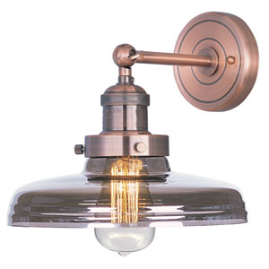 Mini Hi-Bay Antique Copper Ten-Inch Wall Sconce with Mirror Smoke Glass and Bulb