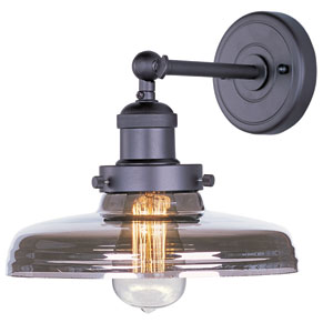 Mini Hi-Bay Bronze One-Light Ten-Inch Wall Sconce with Mirror Smoke Glass and Bulb