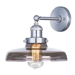 Mini Hi-Bay Satin Nickel Ten-Inch Wall Sconce with Mirror Smoke Glass and Bulb