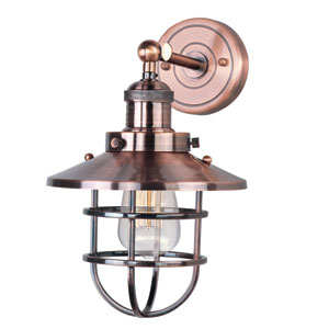 Mini Hi-Bay Antique Copper One-Light Thirteen-Inch Wall Sconce with Bulbs