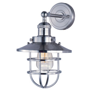 Mini Hi-Bay Satin Nickel Eight-Inch Wall Sconce with Birdcage Shade and Bulb