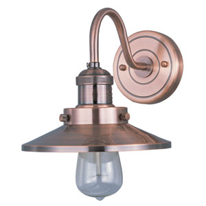 Mini Hi-Bay Antique Copper One-Light Eight-Inch Wall Sconce with Bulbs