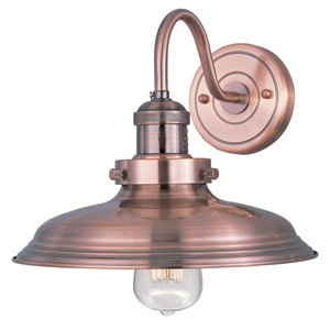 Mini Hi-Bay Antique Copper One-Light Ten-Inch Wall Sconce with Curved Arm