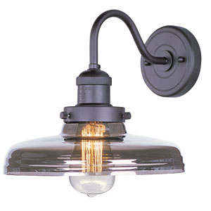Mini Hi-Bay Bronze One-Light Wall Sconce with Mirror Smoke Glass and Bulb