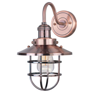 Mini Hi-Bay Antique Copper One-Light Fifteen-Inch Wall Sconce