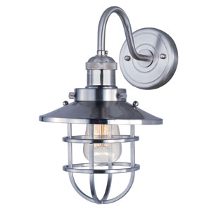 Mini Hi-Bay Satin Nickel One-Light Curved Eight-Inch Wall Sconce with Birdcage Shade