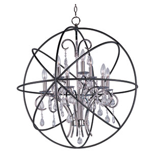 Orbit Anthracite and Polished Nickel Nine-Light Single-Tier Chandelier