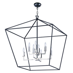 Abode Textured Black and Nickel Eight-Light Lantern Pendant