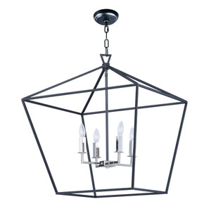 Abode Textured Black and Nickel 25-Inch Four-Light Lantern Pendant