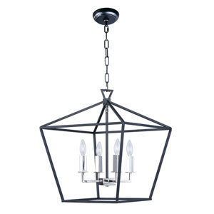 Abode Textured Black and Nickel 18-Inch Four-Light Lantern Pendant