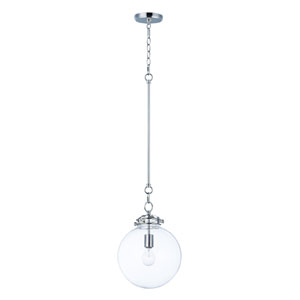 Retro Polished Nickel 11-Inch One-Light Globe Pendant