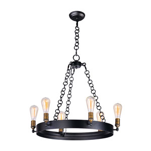 Noble Black and Natural Aged Brass Six-Light Chandelier
