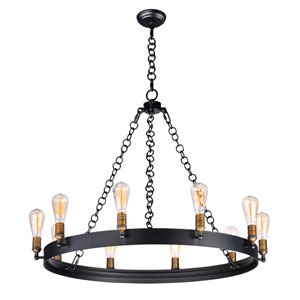 Noble Black and Natural Aged Brass 10-Light Chandelier