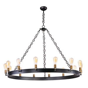Noble Black and Natural Aged Brass 50-Inch 14-Light Chandelier