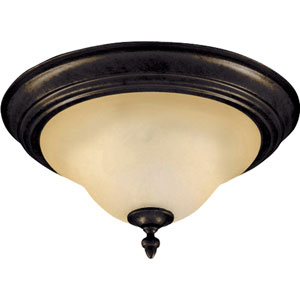 Pacific Kentucky Bronze Two-Light Flush Mount with Wilshire Glass