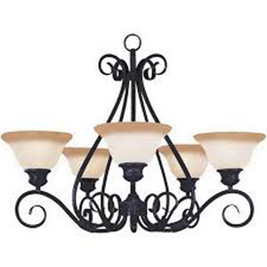 Pacific Kentucky Bronze Five-Light Chandelier