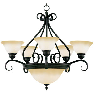Pacific Kentucky Bronze Center Bowl Five-Light Chandelier
