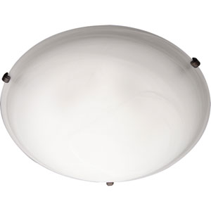 Malaga Oil Rubbed Bronze Two-Light Twelve-Inch Flushmount with Marble Glass