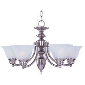 Malaga Satin Nickel Six-Light Single-Tier Chandelier